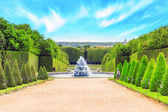Fontaine Pyramid in a beautful and Famous Gardens of Versailles Stock Photos