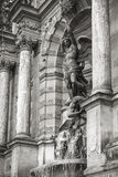 Fontaine Saint-Michel in Paris, France. Monochrome photo of a popular historical landmark stock image
