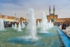 Fontaine sur la place d'Amir Chakhmaq dans Yazd l'iran Images libres de droits