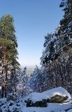 Fontainebleau forest under snow. The Apremont gorges in Fontainebleau forest Stock Image