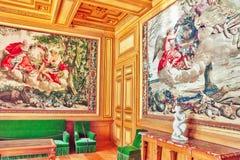 FONTAINEBLEAU FRANCJA, LIPIEC, - 09, 2016: Fontainebleau pałac int Zdjęcie Royalty Free