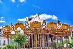 FONTAINEBLEAU FRANCJA, LIPIEC, - 09, 2016: Rozrywki Carousel f Zdjęcia Royalty Free