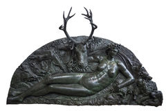 Fontainebleau Frankrike - 15 Augusti 2015: Detaljer, staty och möblemang Royaltyfria Bilder