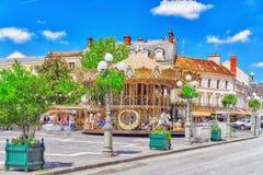 FONTAINEBLEAU FRANKRIKE - JULI 09, 2016: Förorter av Paris - stad Royaltyfri Fotografi