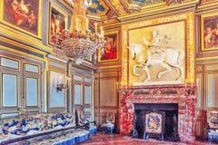 FONTAINEBLEAU FRANKRIKE - JULI 09, 2016: Fontainebleau slott int Royaltyfria Bilder