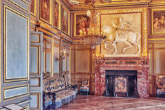FONTAINEBLEAU FRANKRIKE - JULI 09, 2016: Fontainebleau slott int Royaltyfri Fotografi