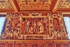 FONTAINEBLEAU FRANKRIKE - JULI 09, 2016: Fontainebleau slott int Fotografering för Bildbyråer