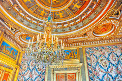 FONTAINEBLEAU FRANKRIKE - JULI 09, 2016: Fontainebleau slott int Arkivfoto