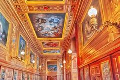 FONTAINEBLEAU FRANKRIKE - JULI 09, 2016: Fontainebleau slott int Royaltyfria Foton