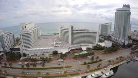 Fontainebleau Hotel Miami Beach aerial 4k stock footage