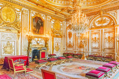 Fontainebleau Palace interiors. The Throne Room. Chateau was on Royalty Free Stock Image