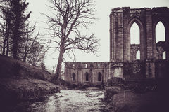 Fontaines Abbey Ruins, Ripon R-U photographie stock