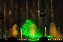Fontaines colorées de nuit en Lima Peru photographie stock