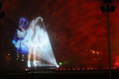 Fontaines colorées de nuit en Lima Peru image libre de droits