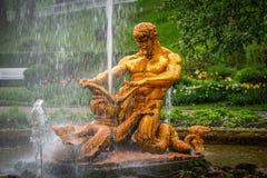 Fontaines d'andother de fontaine de Samson et de Lion dans Peterhof photos libres de droits