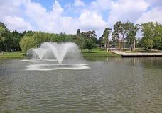 Fontaines dans l'étang à côté de l'bois photos libres de droits