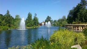 Fontaines dans l'étang Image libre de droits
