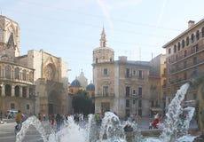 Fontaines dans la ville espagnole de Valence Photo stock