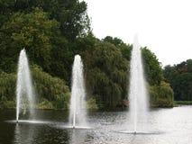 Fontaines dans le lac en parc Photographie stock
