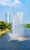 Fontaines dans le panorama de fontaines de Rusanivka de secteur de Kiev Kiev R-U Images stock