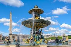 Fontaines de la Concorde och Luxor obelisk Arkivbilder