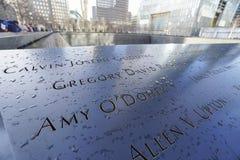 9-11 fontaines de mémorial au point zéro - World Trade Center MANHATTAN - NEW YORK - 1er avril 2017 Image stock