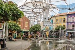 Fontaines en Clarke Quay image libre de droits