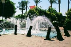 Fontaines en parc du 100th anniversaire d'Ataturk Alanya, Turquie Image stock