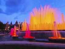 Fontaines magiques à Barcelone Images libres de droits
