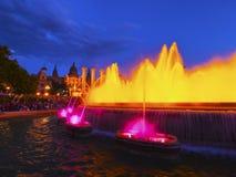 Fontaines magiques à Barcelone Photos libres de droits