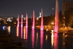 Fontaines musicales au canal de Rusanivsky, Kiev, Ukraine photo stock