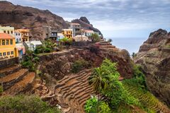 Fontainhas village and terrace fields in Santo Antao island, Cape Verde