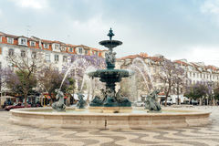 Fontains - Lisbon, Portugal. Lisbon, Portugal - May 9, 2017: Fountains in Rossio Square Royalty Free Stock Photography
