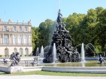 Palace of Herrenchiemsee - Fontains with romantic sculpture - Bavarian Versailles – Germany Royalty Free Stock Image