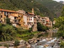 Fontan, Alpes-Maritimes, Франция - бывший взгляд деревни границы Стоковые Фотографии RF