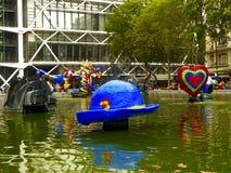 Fontana al Centre Pompidou, Art Museum moderno nazionale a Parigi fotografie stock libere da diritti