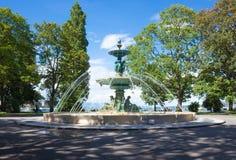 Fontana al giardino inglese a Ginevra, Svizzera immagini stock