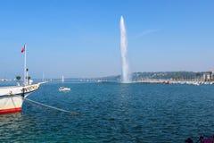 Fontana al lago Lemano Fotografia Stock