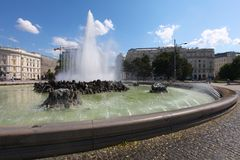 Fontana al memoriale di guerra sovietico, Vienna Fotografie Stock