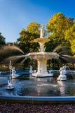 Fontana al parco di Forsyth, in savana, Georgia Fotografia Stock Libera da Diritti