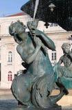 Fontana barrocco nel quadrato di Dom Pedro IV Fotografia Stock Libera da Diritti