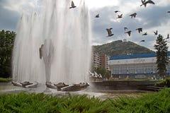 Fontana cinetica situata nel quadrato centrale di Resita, Romani Immagine Stock Libera da Diritti