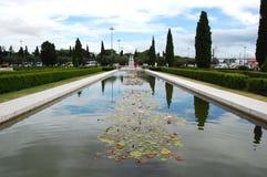 Fontana con i fiori di loto Fotografia Stock Libera da Diritti