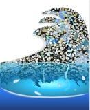 Fontana con un mosaico di pietra sotto forma dell'onda Immagine Stock