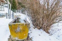fontana congelata nelle alte montagne Immagine Stock