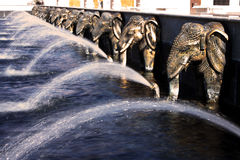 Fontana degli elefanti al tempio indù Fotografia Stock Libera da Diritti