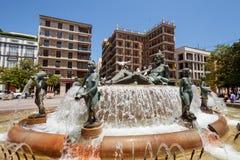 Fontana degli otto canali Turia, valenza Fotografie Stock Libere da Diritti