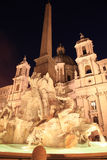 Fontana dei Quatro Fiumi, (Fountain of the four Rivers) , Piazza Navona (Navona Square) Rome Stock Photography