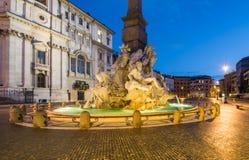 Fontana dei Quattro Fiumi,纳沃纳广场,罗马,意大利 免版税库存图片