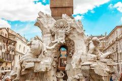 Fontana dei quattro fiumi Fotografia Stock